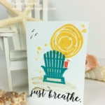 Summer Card with Adirondack chair on the beach using Colorful Seasons and Swirly Bird Stamp Sets and Seasonal Layers and Swirly Scribbles Thinlits CASED by Lynda Falconer, Independent Stampin Up Demonstrator at www.crafterinspired.com