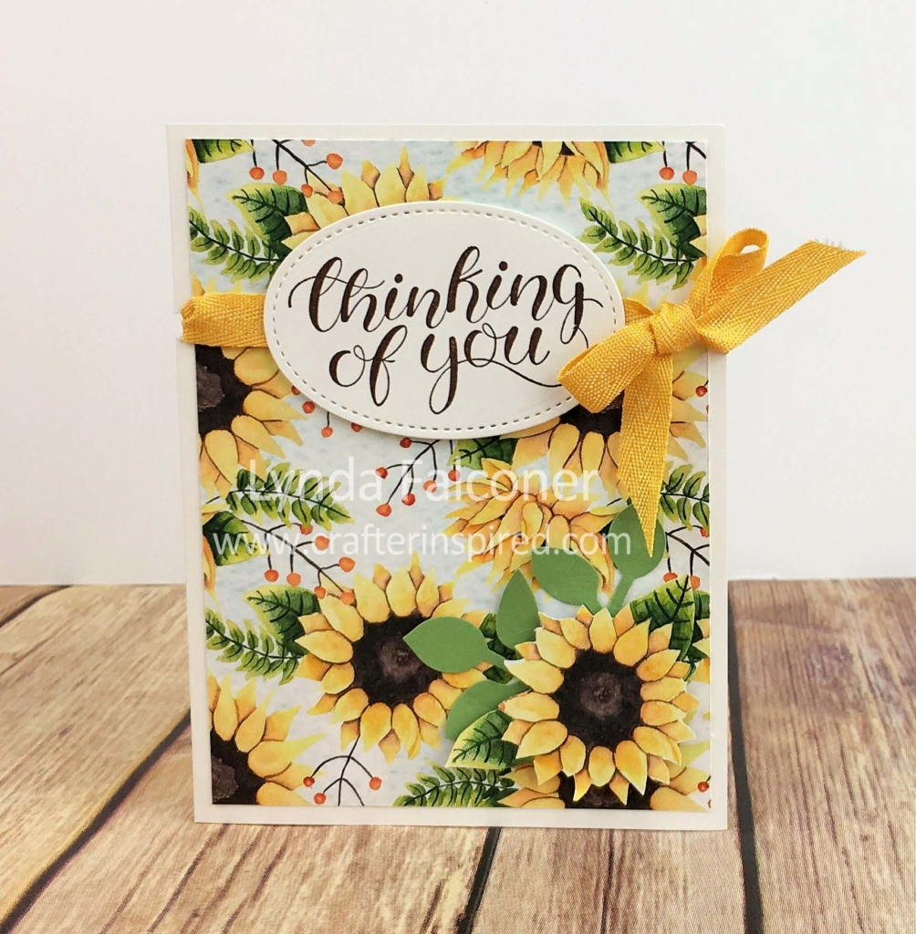 Use 4 Stampin Up Products to create this Sunsational Fall Card with the gorgeous sunflower design in the Painted Autumn DSP by Lynda Falconer at www.lyndafalconer.stampinup.net
