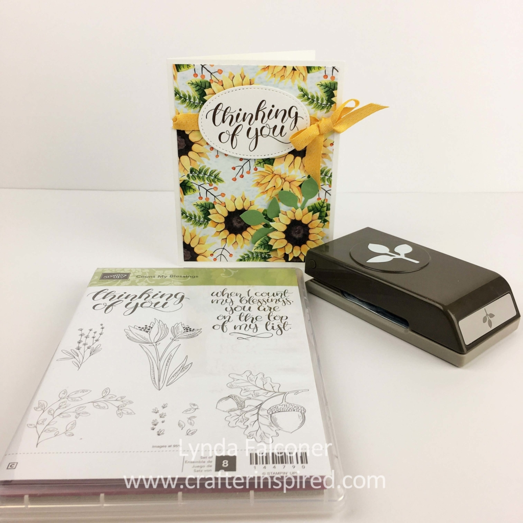 "Use 4 products to make this sunsational fall card with Painted Autumn DSP, Leaf Punch, Count My Blessings Stamp Set, and 3/8"" Crushed Curry Chevron Ribbon . Card by Stampin' Up Demonstrator Lynda Falconer at www.crafterinspired.com"