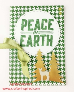 Garden Green hounds tooth check makes beautiful backdrop for Peace on Earth Christmas Card with Card Front Builder thinlit dies at www.lyndafalconer.stampinup.net by Lynda Falconer, Stampin Up Demonstrator