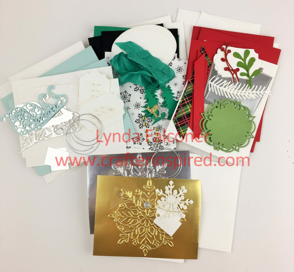 Supplies included in Christmas Cards by Lynda class at www.crafterinspired.com/classes