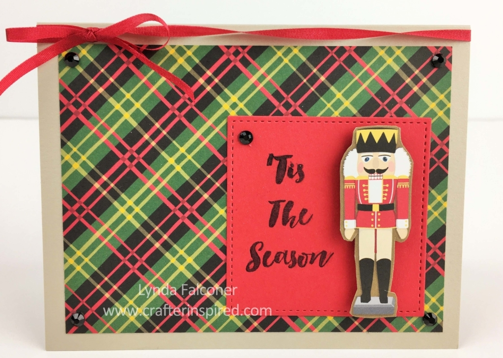 Love the plaid in this Nutcracker Christmas Card by Lynda Falconer, Stampin' Up Demonstrator at www.lyndafalconer.stampinup.net using Around the World Designer Paper and Stitched Shape Framelits