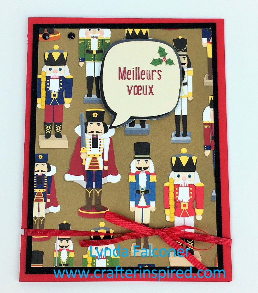 Quick and easy Christmas card with nutcracker from Christmas Around the World Designer Series Paper by Lynda Falconer, Stampin' Up Demonstrator