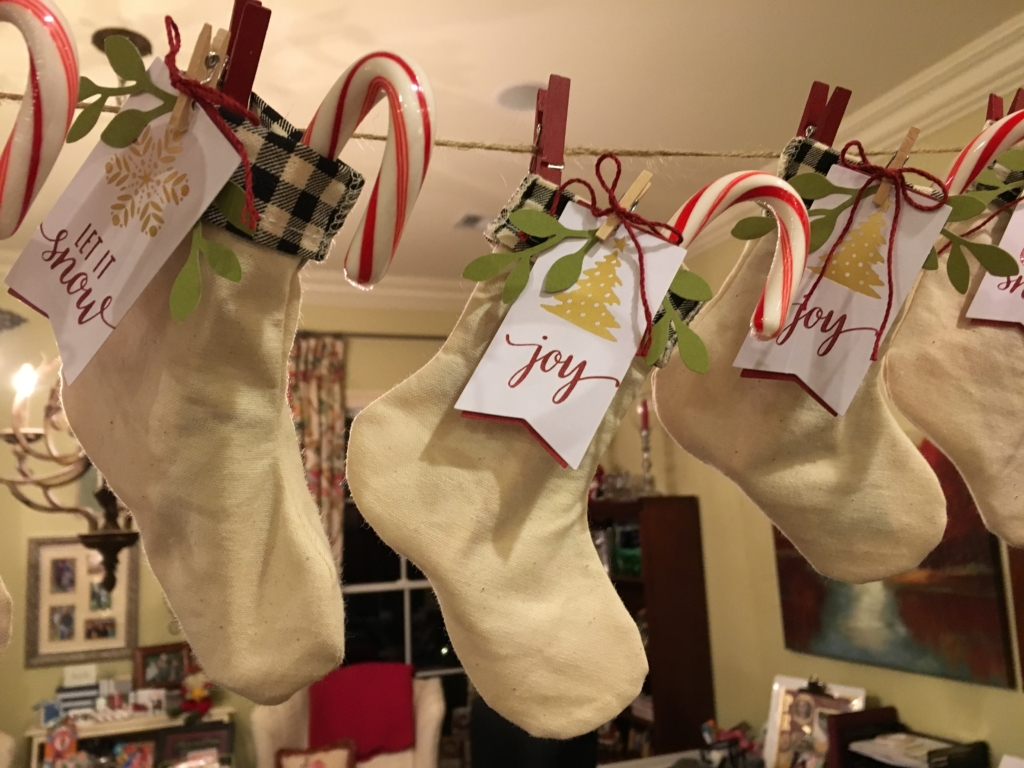 Stockings made from Paper Pumpkin kits by www.lyndafalconer.stampinup.net