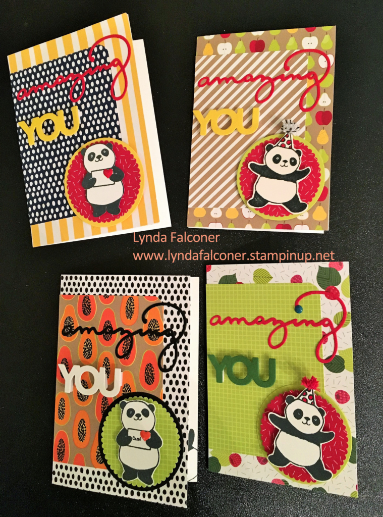 4 Variations of Party Panda Card by Lynda Falconer at www.crafterinsprired.com