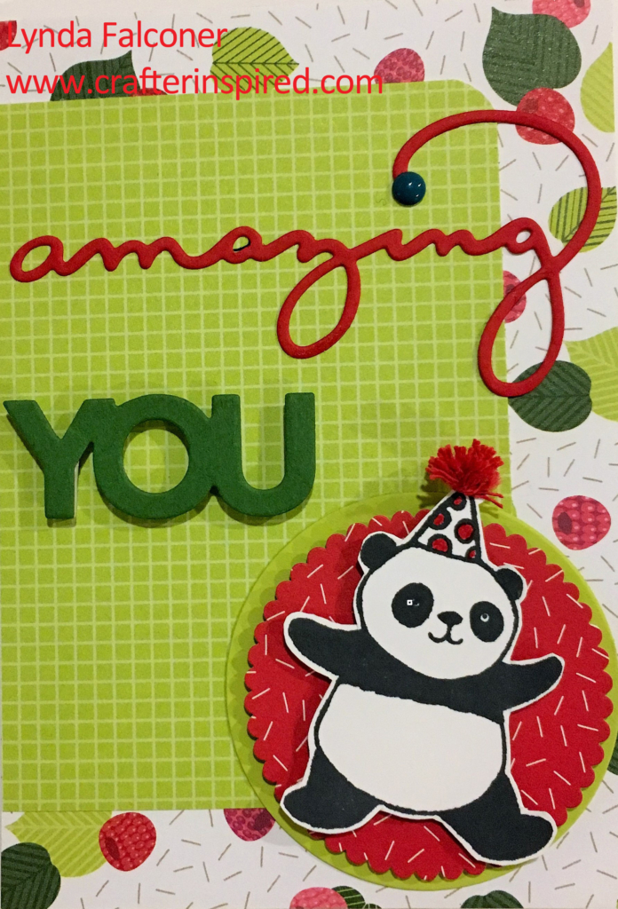 Darling birthday card with Party Pandas - free Stamp Set during Sale-A-Bration with $50 purchase at www.lyndafalconer.stampinup.net item # 147221