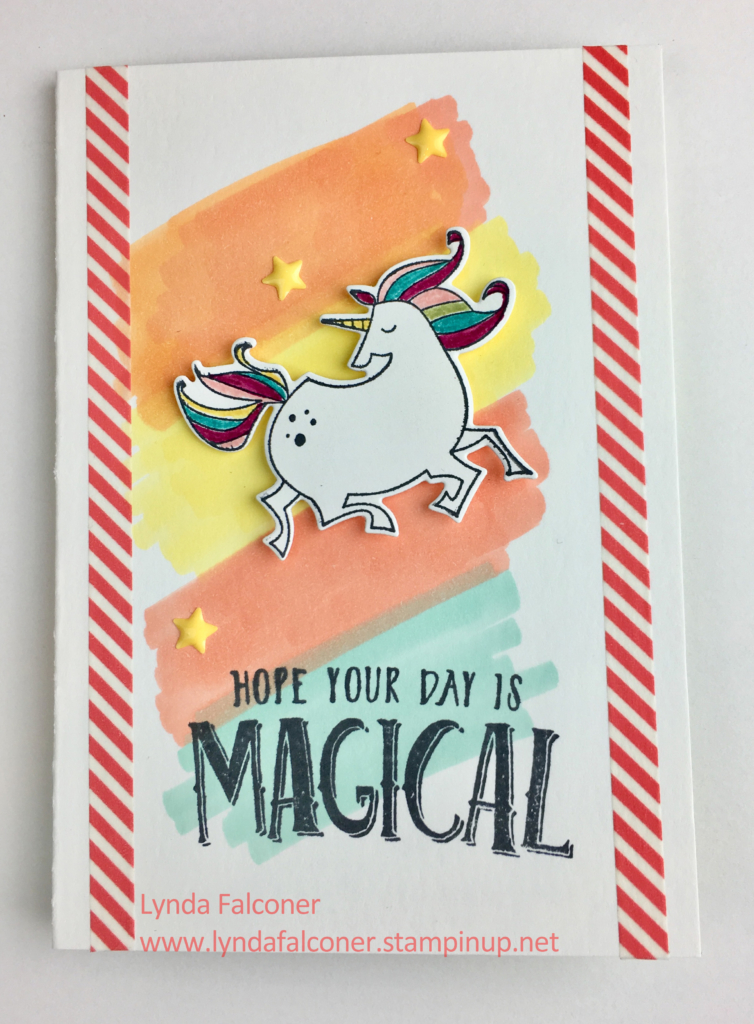 Unicorn from Magical Day Stamps cased by Lynda Falconer @ www.crafterispired.com