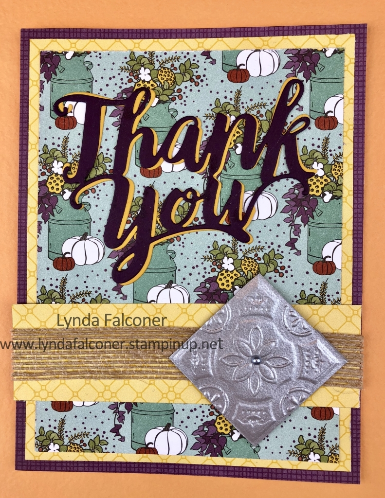 Thank You Card with Tin Tile by Lynda Falconer at www.lyndafalconer.stampinup.net