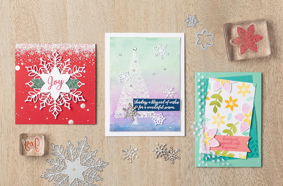 Snowfall Thinlit (#149692) , Happiness Surrounds (149744) and Snow is Glistening Stamp Sets (149742) make these beautiful cards. Get supplies at www.lyndafalconer.stampinup.net