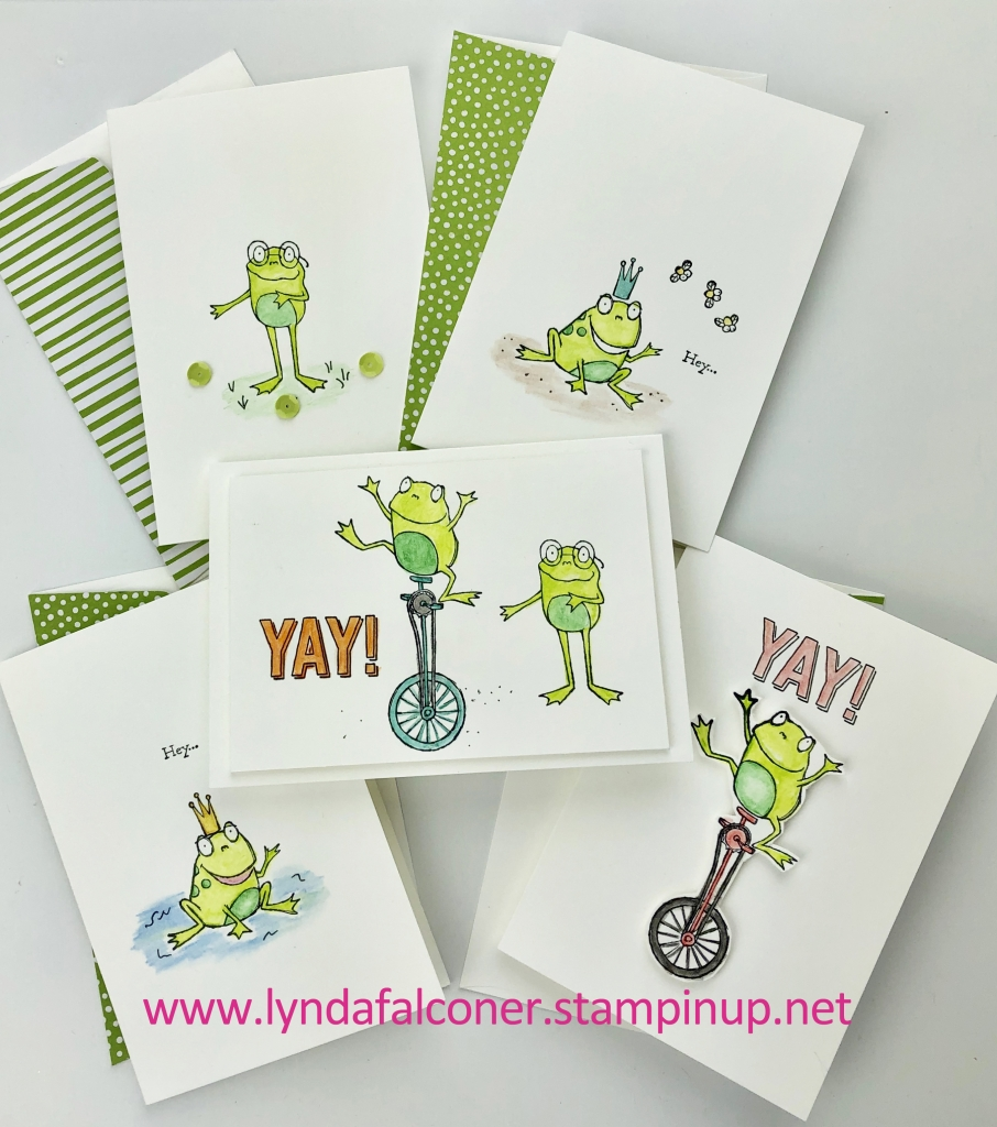 5 notecards by Lynda Falconer, Independent Stampin' Up Demonstrator at www.lyndafalconer.stampinup.net with $50 order - So Hoppy Together Stamp Set , Free during Saleabration until March 31.