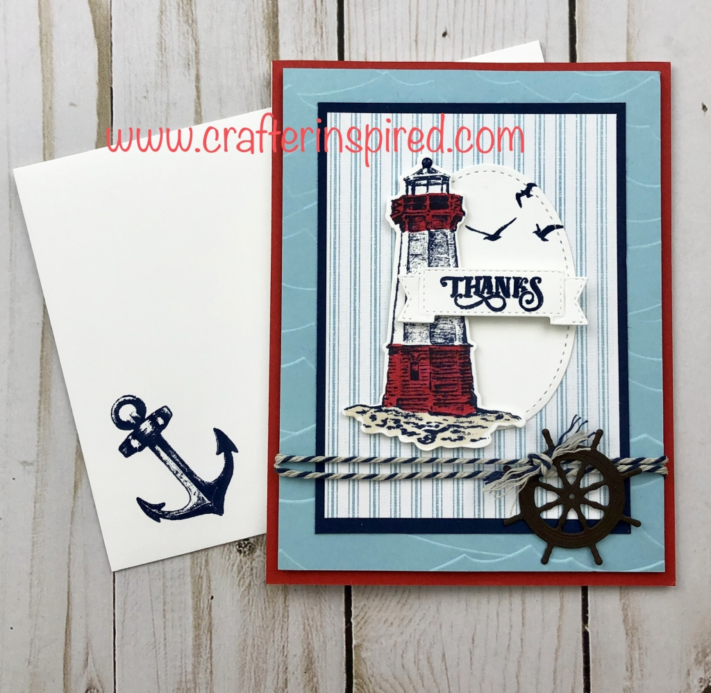 Make the perfect summer card with the Come Sail Away Suite. This card uses the Sailing Home Stamp Set and Smooth Sailing Dies and Come Sail Away Designer Series Paper. Created by Lynda Falconer at www.lyndafalconer.stampinup.net.