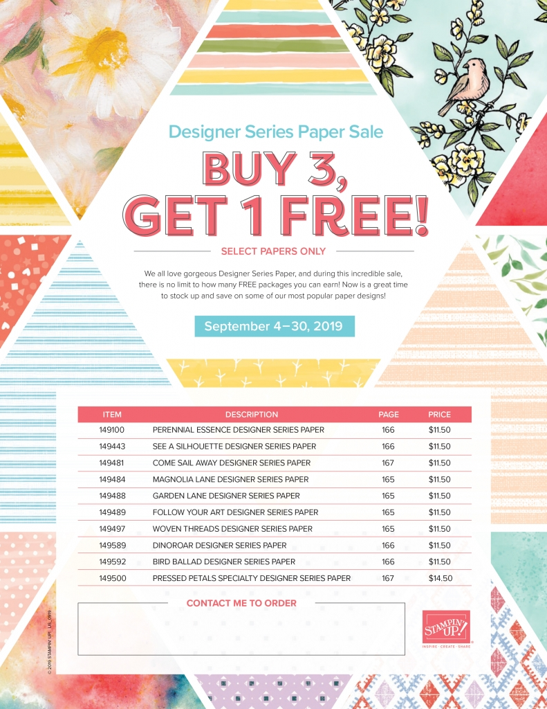 Designer Series Paper Buy 3, Get 1 Free Sale September 2019 at www.lyndafalconer.stampinup.net