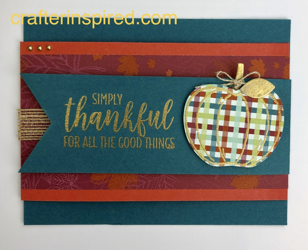 Thankful card made from the Harvest Hellos Bundle by lyndafalconer.stampinup.net
