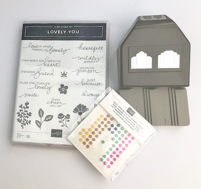 Lovely You Bundle #154070 and 2020-2022 In Color Enamel Dots needed to complete Summer Blooms Card Kit to Go at www.crafterinspired.com/classes